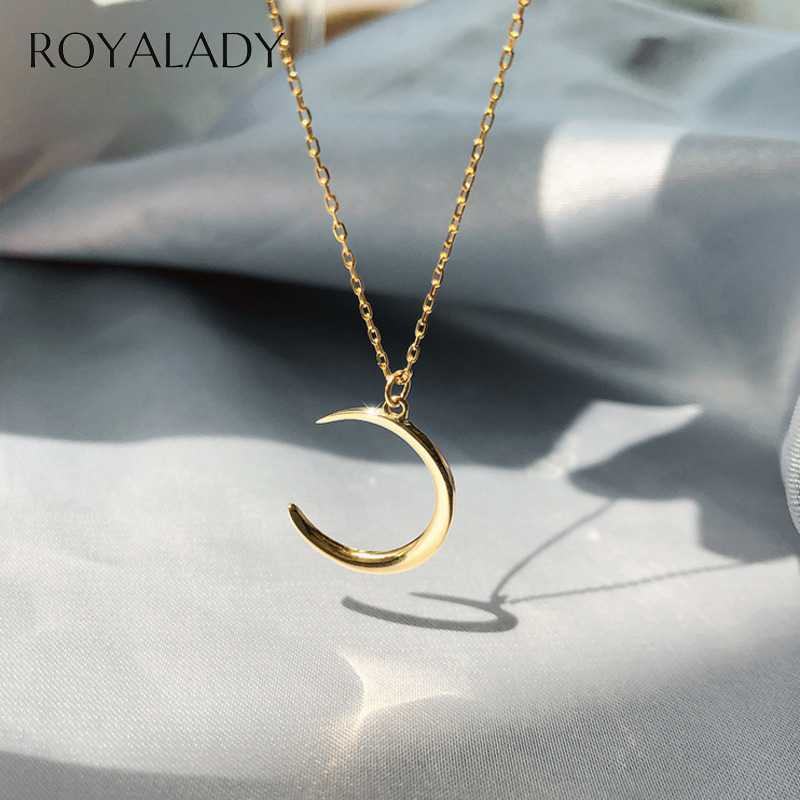 Fashion Silver Plated Moon Choker Necklace Women Girl Temperament Crescent Clavicle Gold Chain Pendant Necklaces Collares Gift