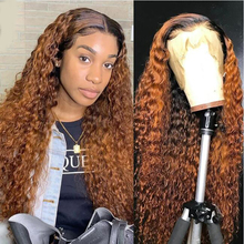 Wig Lace-Frontal Brazilian for Women Human-Hair Honey-Blonde Pluked Deep-Curly Remy Ombre