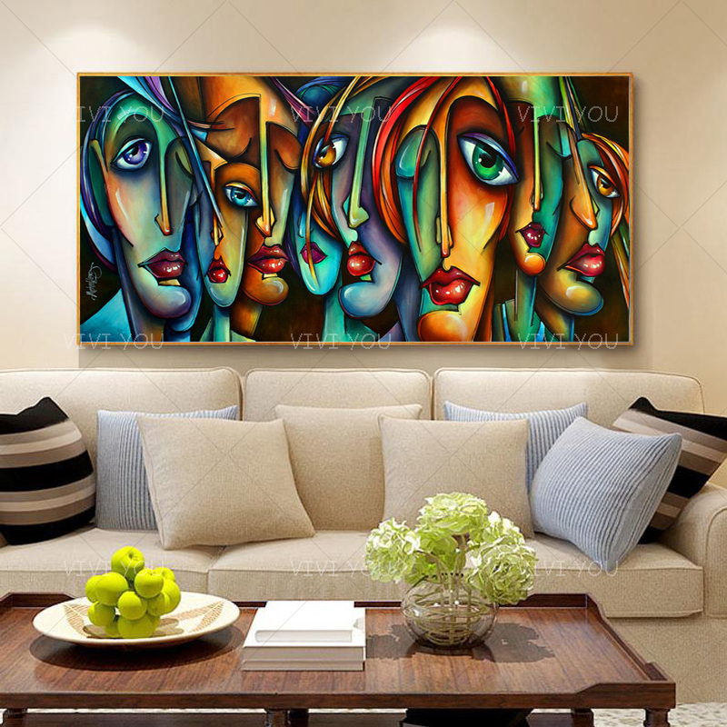 100 Handmade Painting Canvas Art Creative Human Face Painting Home Decor Wall Art Pictures For Living Room Canvas No Framed Painting Calligraphy Aliexpress