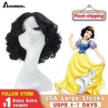 Anogol kısa kıvırcık kar siyah yüksek sıcaklık Fiber sentetik saç beyaz prenses Cosplay peruk cadılar bayramı için