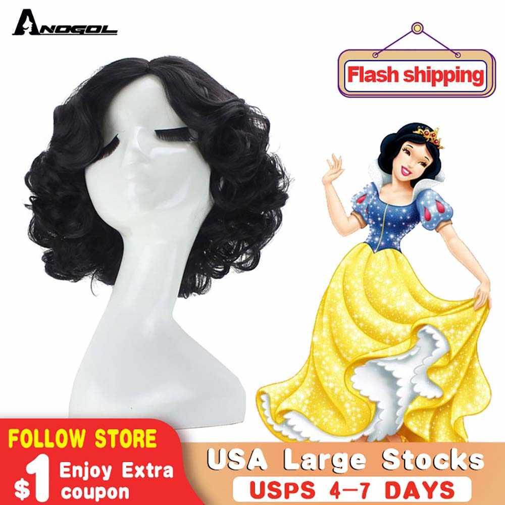 Anogol krótki kręcone śnieg czarny wysokiej temperatury włókna syntetyczne włosy biała księżniczka peruka do Cosplay na Halloween
