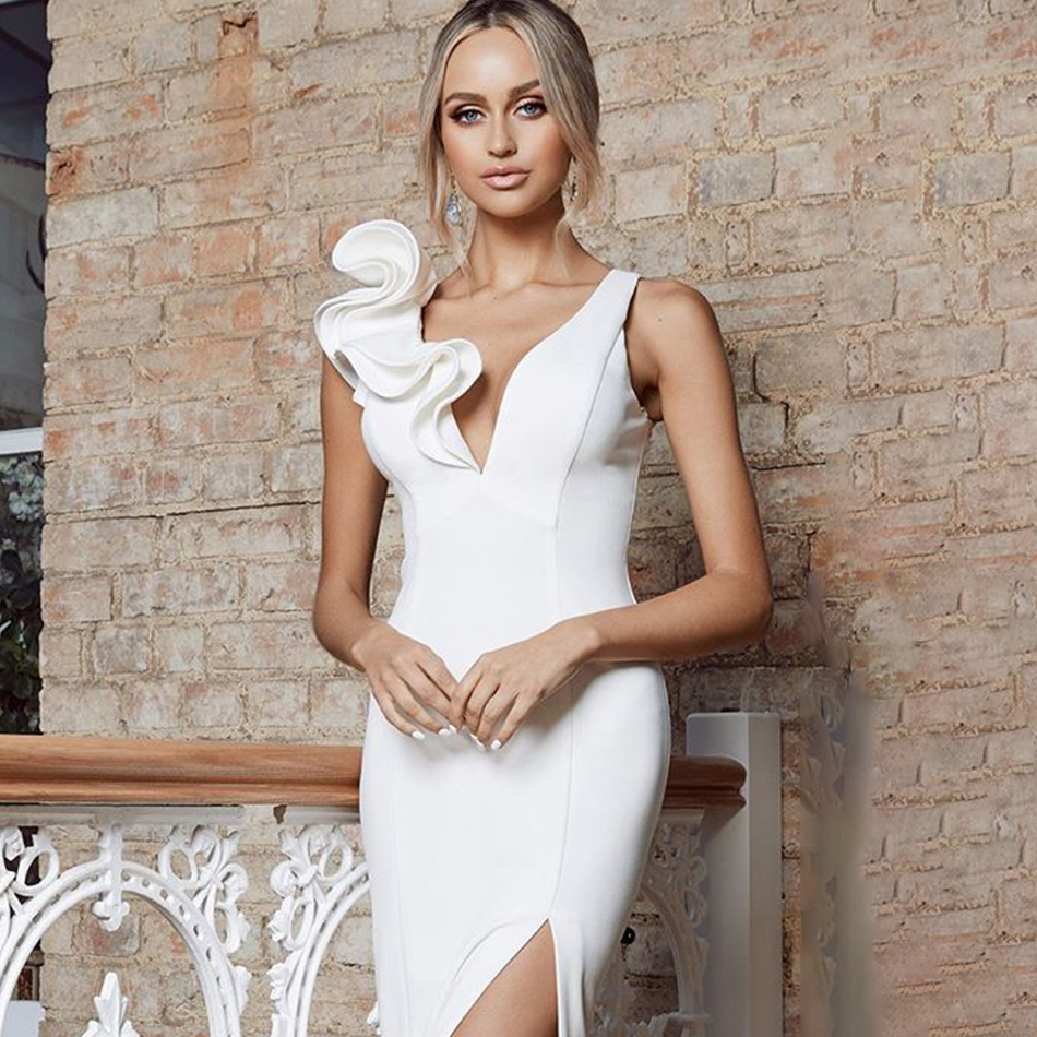 ADYCE New Summer Bodycon Club Ruffles Bandage Dress Women Sexy Deep V Neck Tank White Red Celebrity Runway Party Dresses Vestido