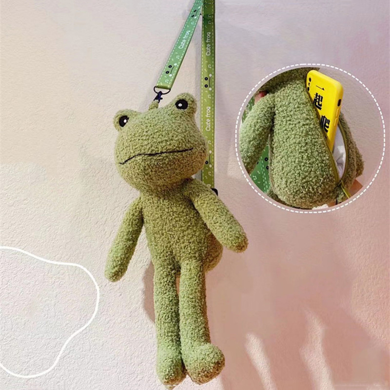 Cute Green Frog Plush Toys Stuffed Animals Doll CrossBody Shoulder Bag Coin Purse Wallet Pouch Kids Children Christmas Gifts