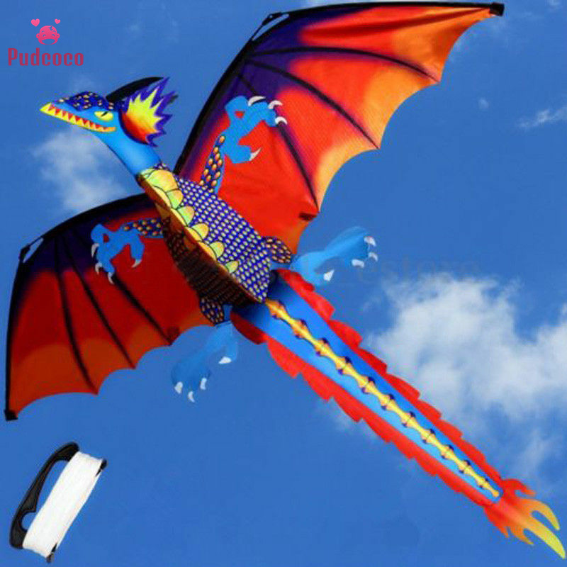 Pudcoco 3D Dragon 100M Kite Single Line With Tail Kites Outdoor Fun Toy Kite Family Outdoor Sports Toy Children Kids Gift