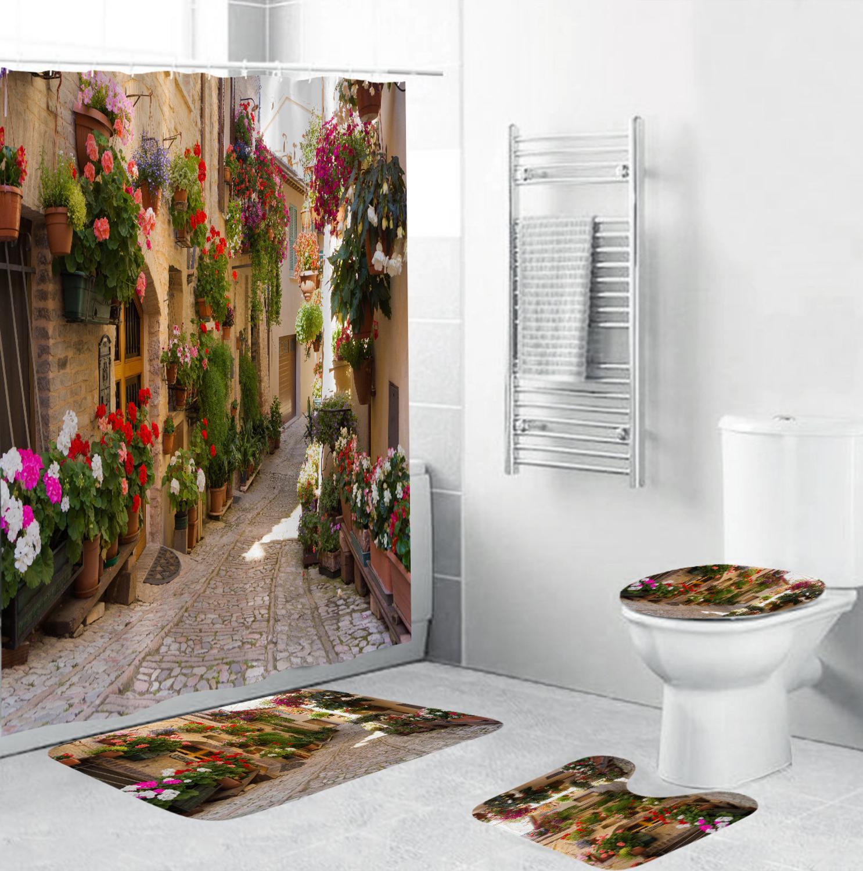 Douchegordijn Natuur Flowers Pattern Shower Curtain Toilets Cover Mat Waterproof Bathroom Curtain Accessories Set T138(China)