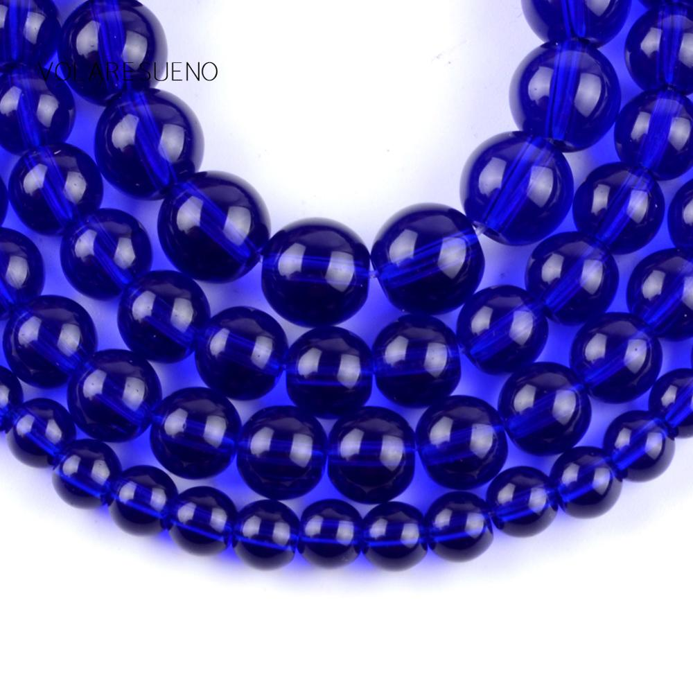 Natural Smooth Bule Glass Round Loose Beads For Jewelry Making 4 12mm Spacer Beads Fit Diy Women 39 s Bracelet Necklace 15' Strand in Beads from Jewelry amp Accessories
