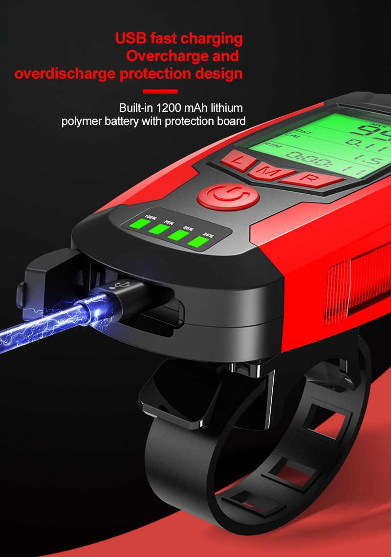 Bisiklet ışığı ile bisiklet bilgisayar kilometre USB bisiklet lambası COB  LED ön far dijital bisiklet sayacı bisiklet aksesuarları|Bicycle Light
