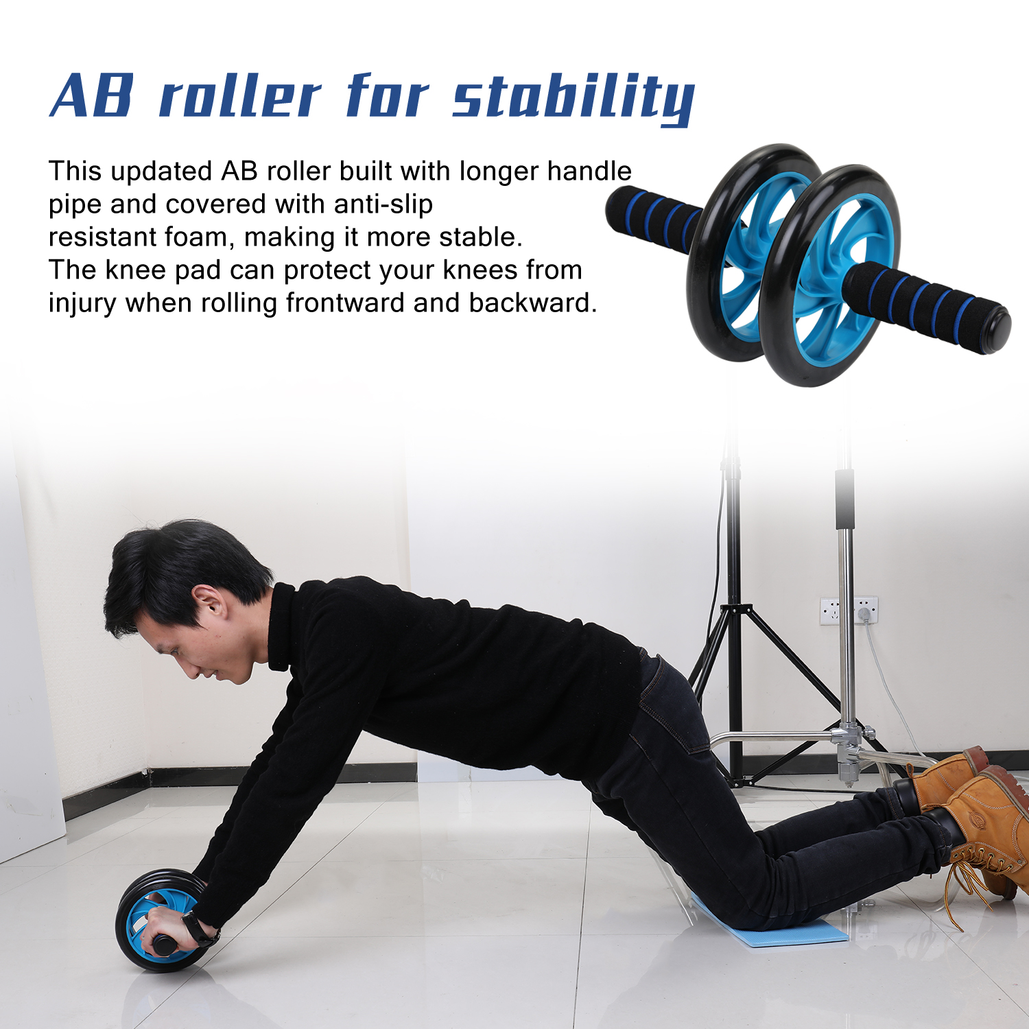 H428baf9566e144e382e678d29cba04a5m - 5-in-1 AB Roller Kit Abdominal Press Wheel Pro with Push-UP Bar Jump Rope Knee Pad Gym Home Exercise  Fitness Equipment