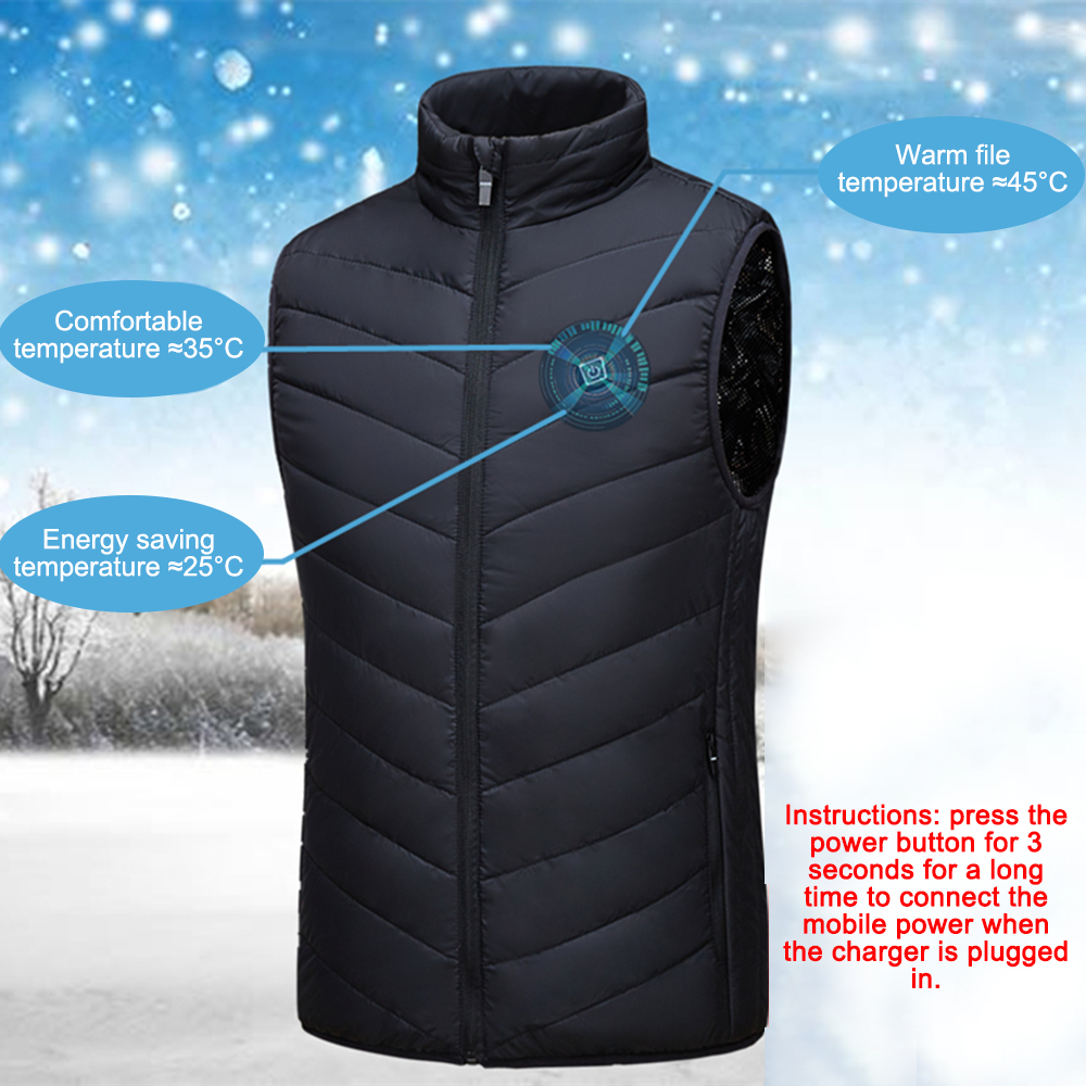 Adjustable Heated Body Wearing Camping Ski Heating Waistcoat Thermal Warm Clothing Feather Winter Quick Men Women Electric Vest