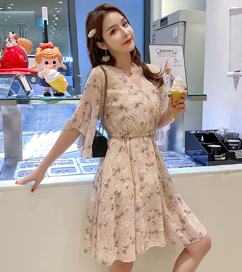women floral printed chiffon V-neckmidi dress half sleeve pleated elegant slim 2020 summer causual high waist vestidos de vera