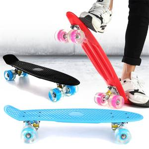 Mini Longboard Skateboard Wheels Led-Flashing Retro with 22-Inches Pastel-Color