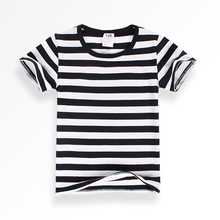 Футболка в черно-белую полоску для мальчиков г. Летняя хлопковая одежда для девочек топ с короткими рукавами и круглым вырезом для детей ясельного возраста, футболка для детей