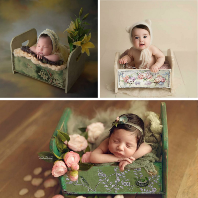 Baby Photography Props Retro Mini Bed Printed Flowers Bed Infant Shoot Accessory Newborn Posing Container Baby Cribs Many Colors