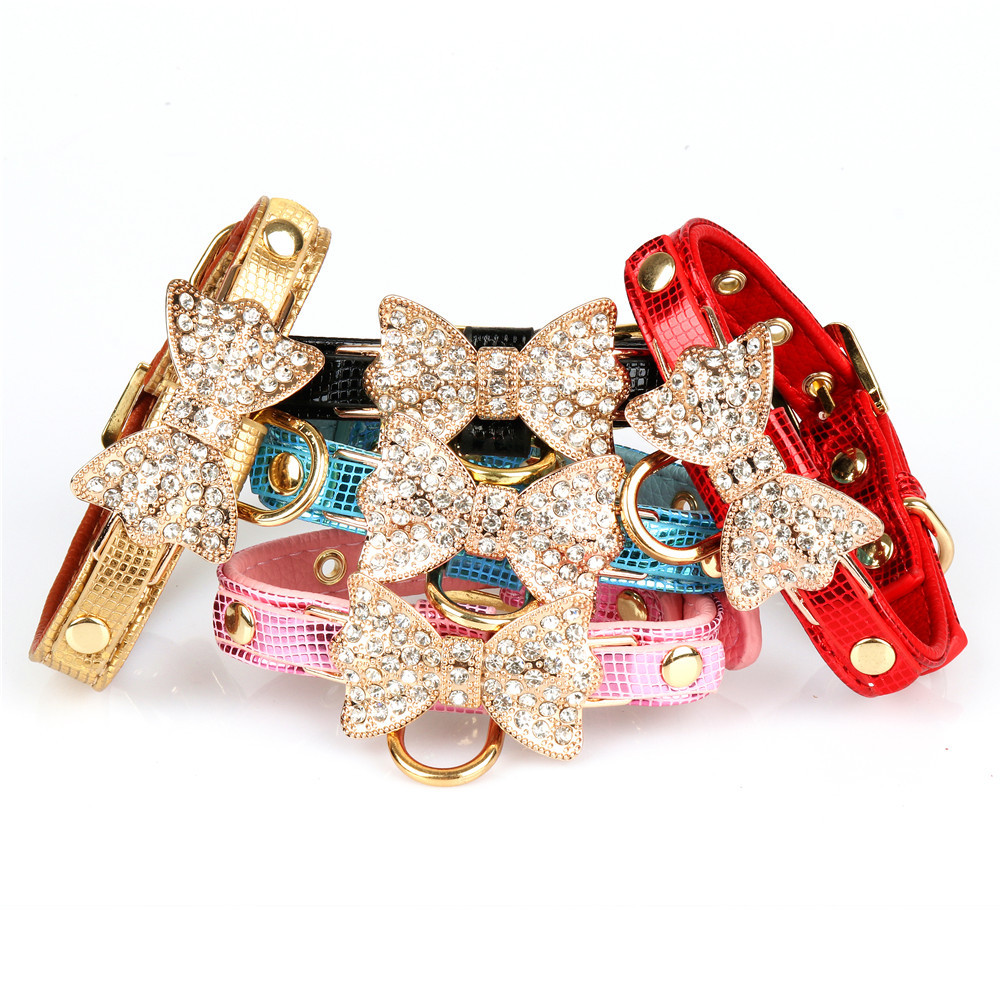 Pet Collar Dog Neck Ring Crystal Bow Bright Surface She Wen Pu Top Grade Soft Dog Supplies