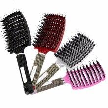 Comb Massage Hair-Brush Styling-Tools Bristle for Salon Women Wet Curly Detangle