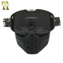 Nowy wysokiej jakości wędzone soczewki kask motocyklowy odpinany Sport gogle modułowa maska przeciwpyłowa filtr na usta Muti kolorowe szkła