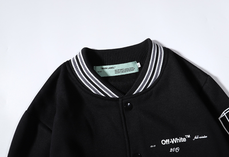 Popular Brand Off Ow White Lines Arrowhead Sketch Men And Women Couples Autumn And Winter Baseball Uniform Woolen Jacket