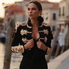 Высококачественная Черная элегантная бандажная куртка большого размера, пикантная вечерняя подиумная облегающая куртка вечерние длинным ...