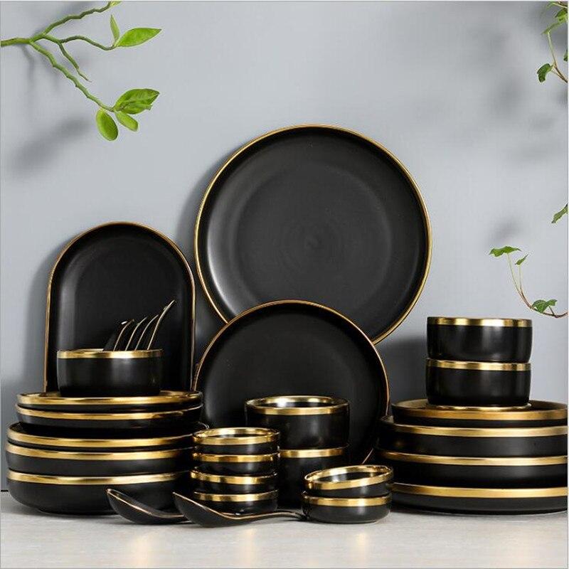 Набор кухонных тарелок из черного фарфора с позолоченным ободом, керамическая посуда, кухонные приборы, миска для риса, салата, лапши, набор ...