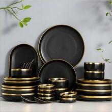 Borda dourada porcelana preta placa de jantar conjunto placa de cozinha cerâmica utensílios de cozinha pratos de arroz salada macarrão tigela talheres conjunto 1p