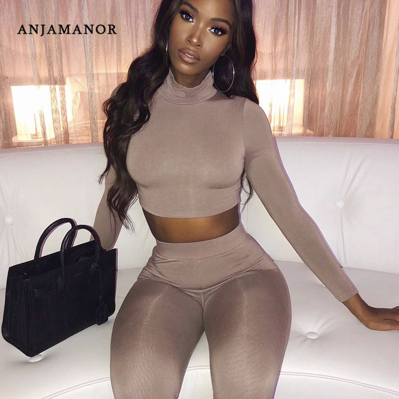 ANJAMANOR 2019 Fall Fashion Sexy Two Piece Tights Set Autumn Winter Outfits For Women 2 Pcs Matching Sets Lounge Clothes D66AD71