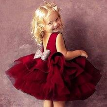 2021 летнее платье-пачка для новорожденных, платье на 1-й день рождения для маленьких девочек, одежда с большим бантом, платья принцессы для кр...