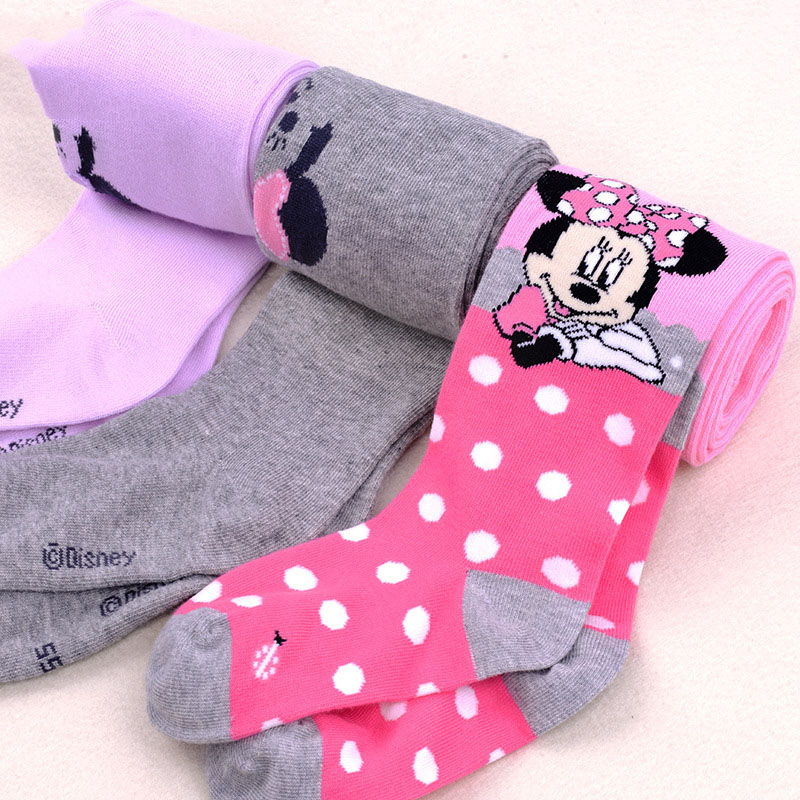 Disney Mickey Mouse Pattern Tights For Girls Cute Pink Cotton Knitted Pantyhose Stockings For Babys Infant Tights For 2-10Y New 4