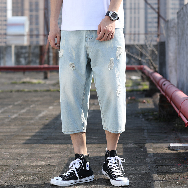 2020 New Summer Wide Leg Blue Baggy Jeans Men Capri Denim Shorts Plus Size Ripped Jeans