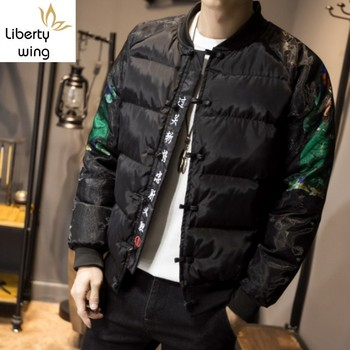 Warm Men Thick Winter Cotton Padded Jacket Coat Plus Size 5XL Vintage Embroidery Printed Parka Casual Overcoat Parkas
