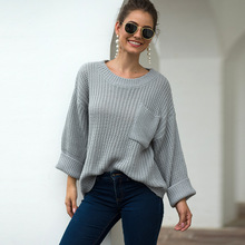 2019 autumn and winter sweater women womens large pocket thick needles loose
