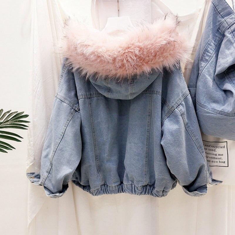 H428c914f310e4304ba521ca70bb3b8c0O LUZUZI 2019 New Warm Winter Bomber Women Winter Autumn Hooded Girls Coat Jeans Denim Jackets Basic Ladies Top Windbreaker Female