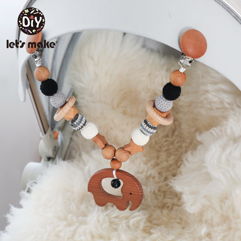 Let'S Make 1pc Oil Play Gym Stroller Toys Baby Prom Wooden Teether Beech Wood Star Bell Pacifier Clip Crochet Beads Baby Teether