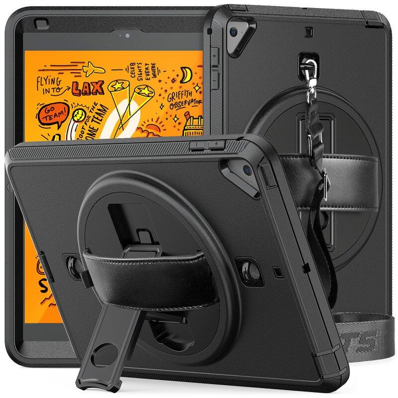 Для iPad Mini 4 5 A2124 A2125 A2126 A2133 A1550 чехол с откидной подставкой вращающейся на Turntablet силиконовый PC 3 Слои Защитная крышка + ремень