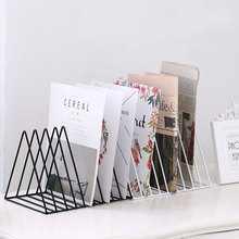 Iron Wrought Newspapers Magazines Storage Rack Office Desktop Bookshelf Scandinavian Home Decor Golden Shelf