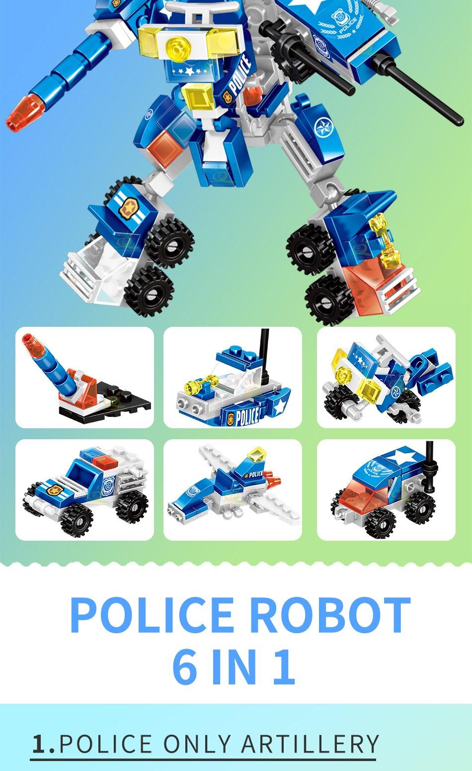 """конструктор huiqibao """"робот - полицейский"""", 140 шт. 6 в 1"""