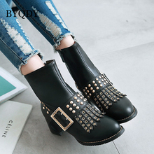 BYQDY New 2020 Thick Heels Woman Boots Buckle Strap Block Heel Shoes Tassel Rivets Ankle Punk Big Size 34-48 Promotion
