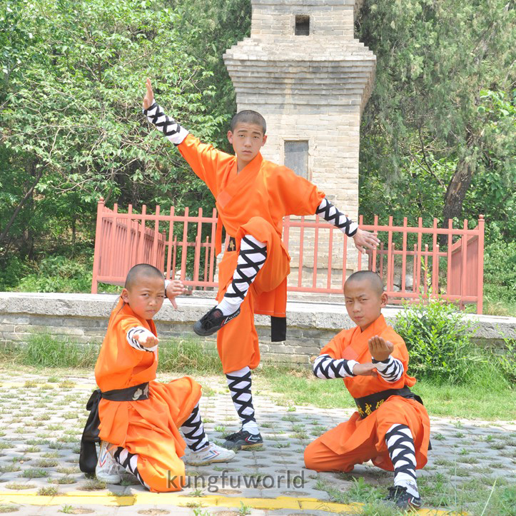 Durable Polyester Orange Shaolin Monk Daily Training Suit Kung Fu School Uniforms Wushu Martial Arts Clothes