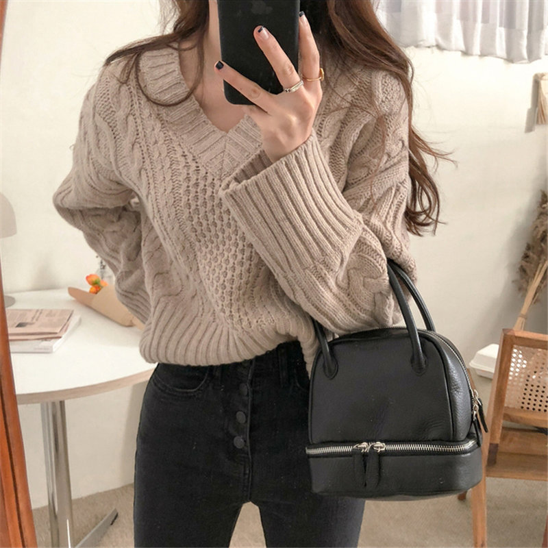 Alien Kitty 2019 Fashion Casual Women Brief Knitted Warm Pullovers Chic Soft V-Neck All-Match Loose Elegant Solid Fresh Sweaters