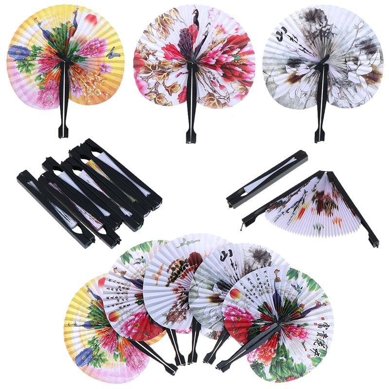 Chinese Paper Folding Hand Fan Oriental Floral Fancy Fans Party Wedding Favors Gift Home Decor Pattern Random