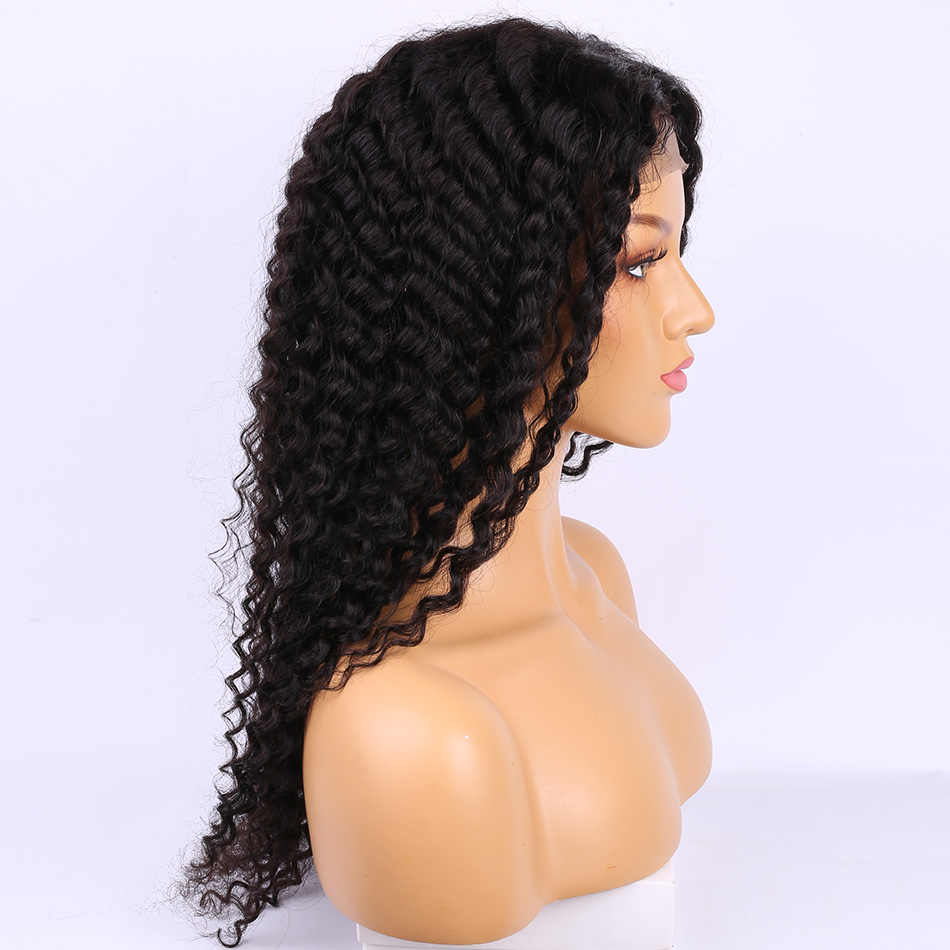 Malaysian Deep Curly Wave 4x4 Closure Lace Closure Wig Pre Plucked Remy Human Hair Wig With Baby Hair Alibele Lace Closure Wig