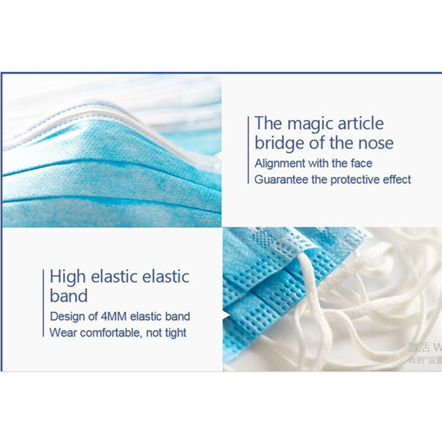 50pcs Disposable Meltblown Dust Nonwove Blue 3 Layer Ply Anti-Flu Earloop Protective Mouth Face Medical Mask Filter 2