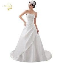 Белое/цвета слоновой кости роскошное свадебное платье, свадебное платье трапециевидной формы, атласная аппликация со шлейфом, свадебные платья YN 9504