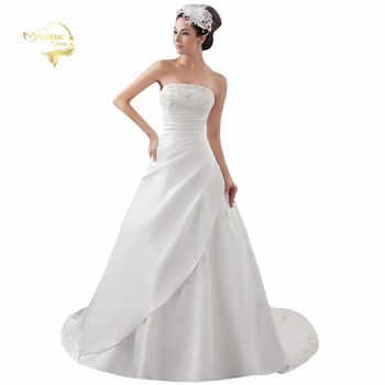 2020 White / Ivory Luxury Vestido De Noiva Robe De Mariage Bridal A Line Satin Applique With Train Wedding Dresses Bridal Gowns - DISCOUNT ITEM  5 OFF Weddings & Events