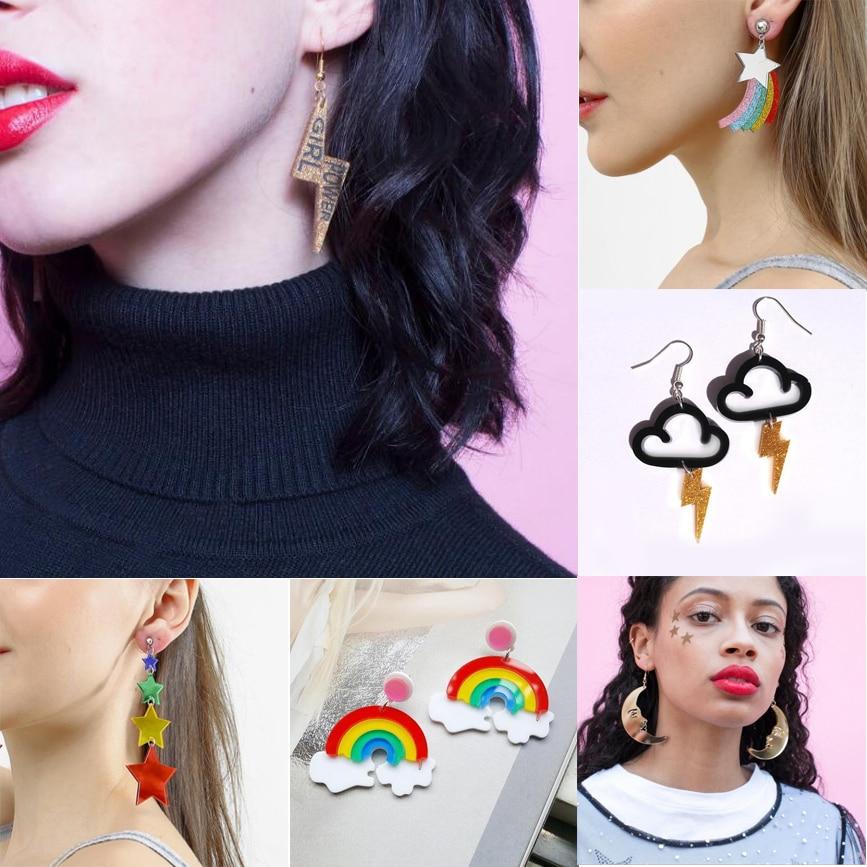 Earrings For Women Kelly Earrings Fashion Charm Exaggerated Eardrop Trendy Hip Hop Girls Gift Cute Rainbow Stars Lightning