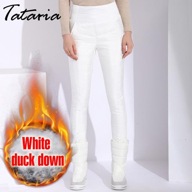 Pantalon dhiver en duvet de canard pour femmes, grande taille, noir, taille haute, slim, chaud, en velours, pantalon crayon, élastique, collection décontracté