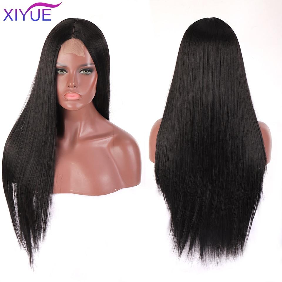 Длинный прямой черный парик XIYUE, синтетические парики для женщин, натуральный парик средней части, термостойкий волоконный парик с естестве...
