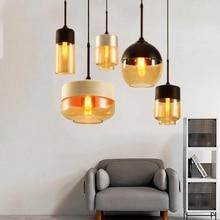 Скандинавская светодиодные подвесные светильники черный/белый прозрачное стекло абажур E27 лампа лофт гостиной Дома-деко светильники Авизе
