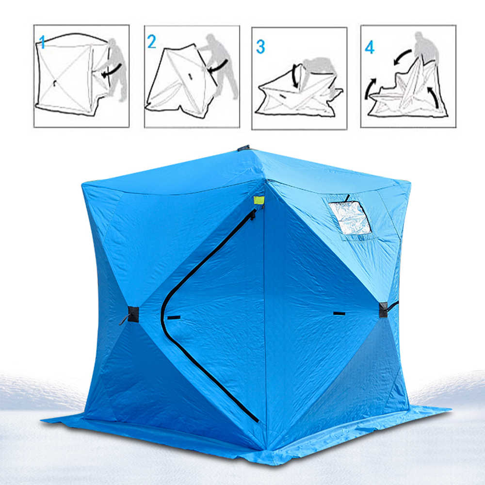 الشتاء خيمة صيد 3-4 شخص يندبروف معزول الجليد خيمة الجليد مع 2 أبواب التنزه السفر شاطئ الصيد التخييم في الهواء الطلق