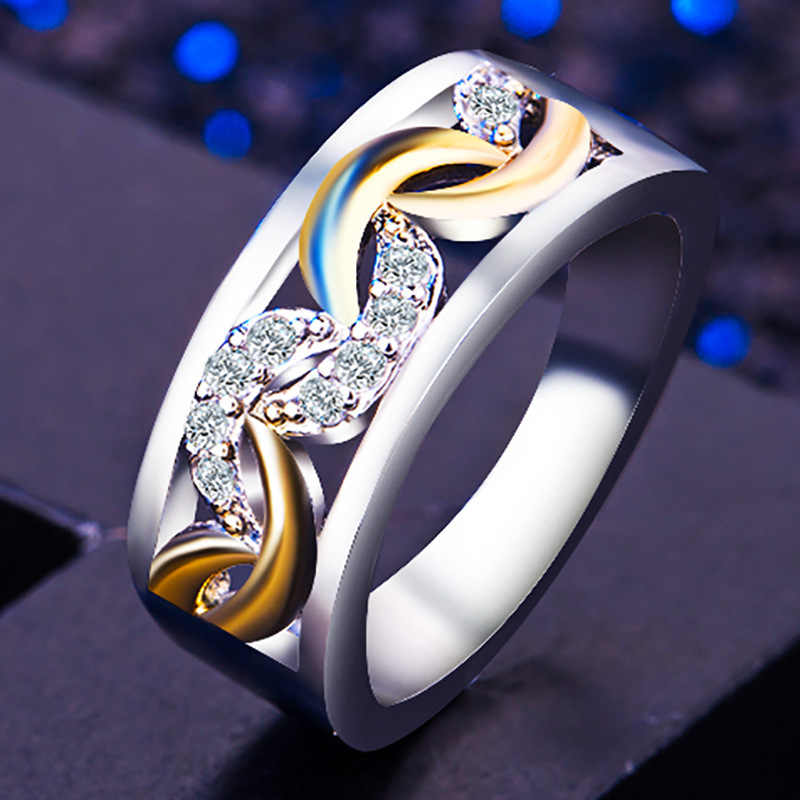 Retro แหวนผู้หญิงยุโรปผสมสีแฟชั่นเครื่องประดับครบรอบงานแต่งงานแหวนของขวัญ