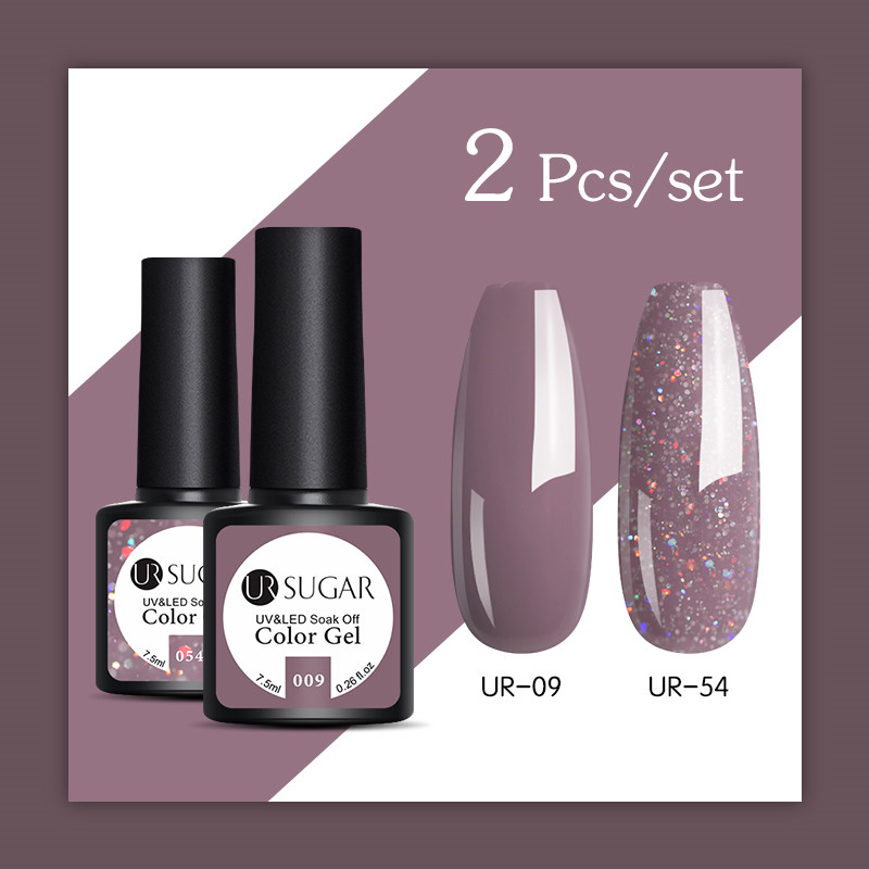 UR SUGAR Glitter UV Gel Nail Polish Set Nude Color Series Led Nail Gel Varnish Semi Permanent Nail Varnish Sequins Gel 2pcs/set